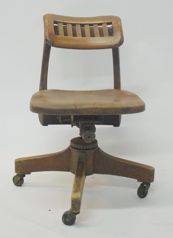382: Vintage Wood Swivel Desk Chair - 3