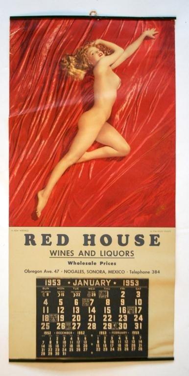 """1953 Marilyn Monroe Calendar """"Red House"""" Wines"""
