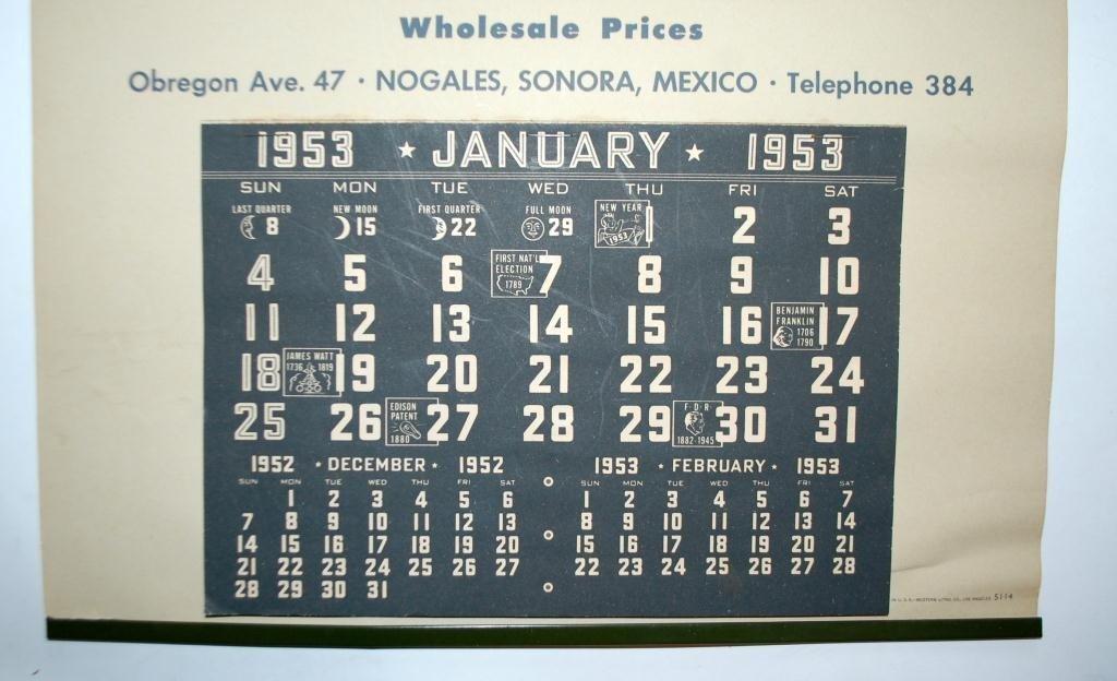 """1953 Marilyn Monroe Calendar """"Red House"""" Wines  - 5"""