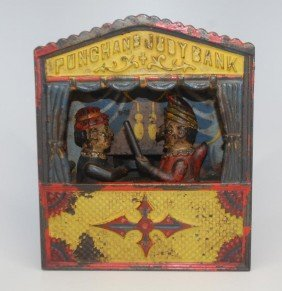 Punch And Judy Cast Iron Mechanical Bank