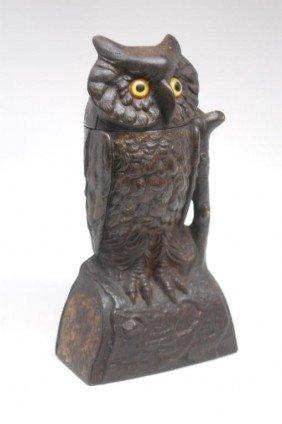 11: Owl Mechanical Cast Iron Bank