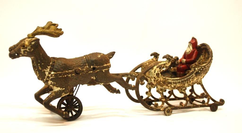 22: Hubley Cast Iron Santa Sleigh Toy