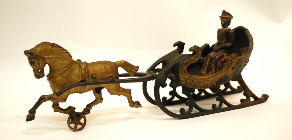24: Hubley Cast Iron Horse Sleigh Toy