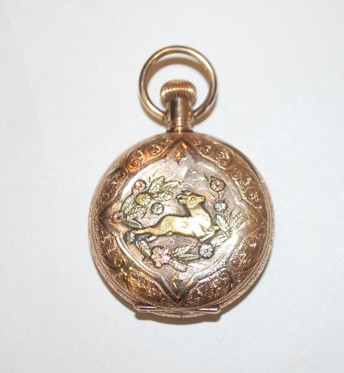 38: Cervine Pocket Watch 14K Gold Hunter Case - 4
