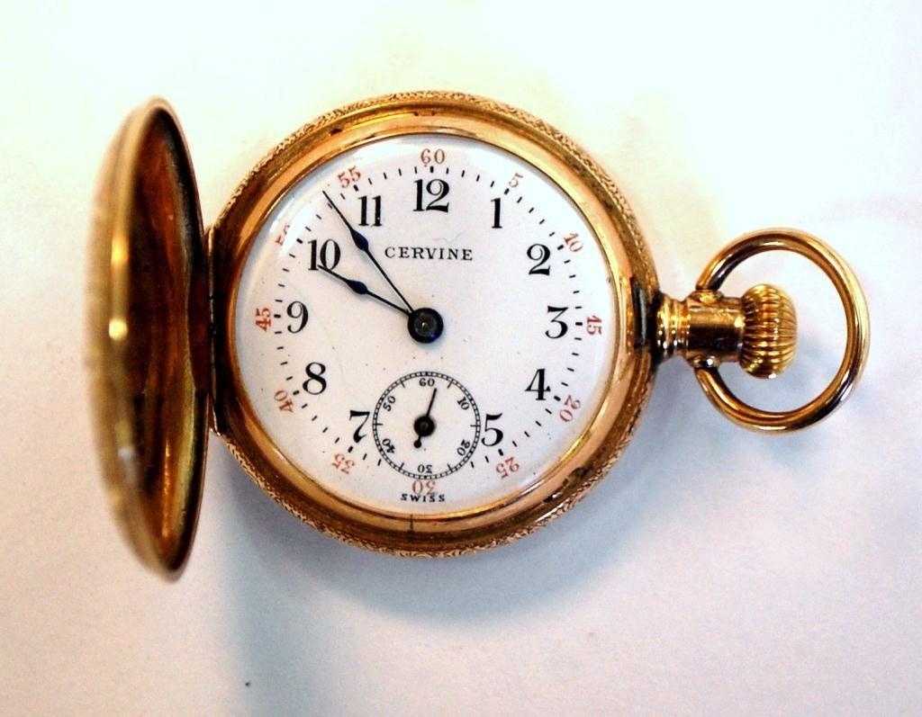38: Cervine Pocket Watch 14K Gold Hunter Case - 6