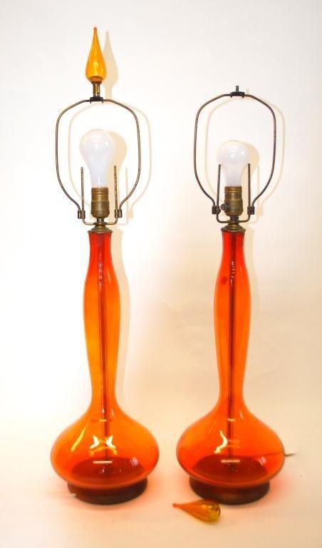 219: Pair Blenko Glass Tall Lamps in Orange