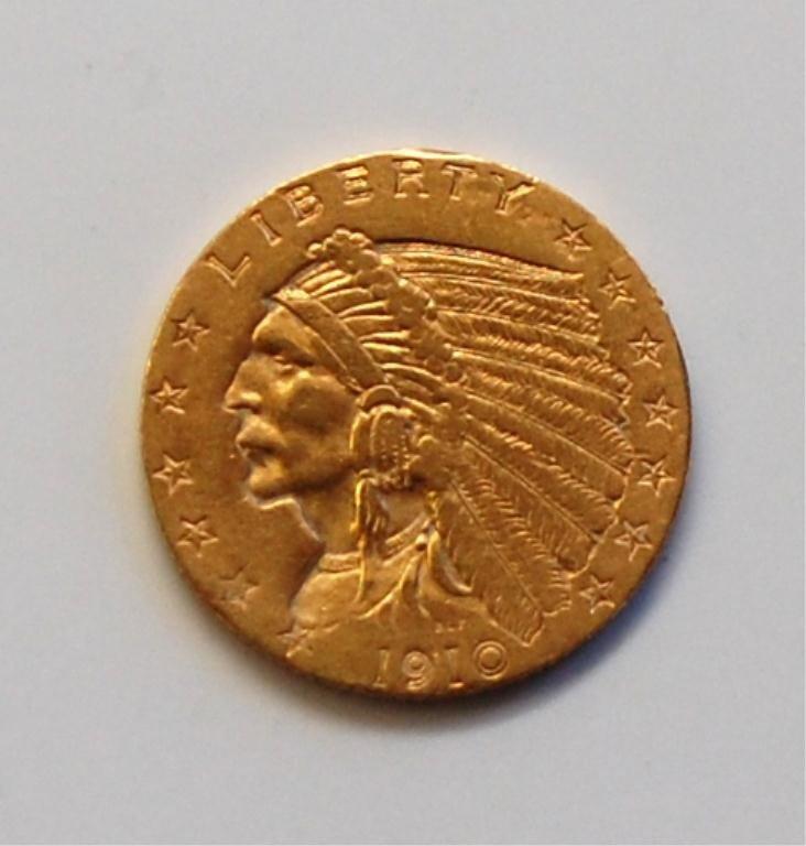 359: 1910 2.5 Dollar Gold Coin - Indian Head /  Quarter