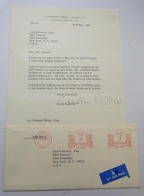 4: Brian Epstein signed Beatles related letter