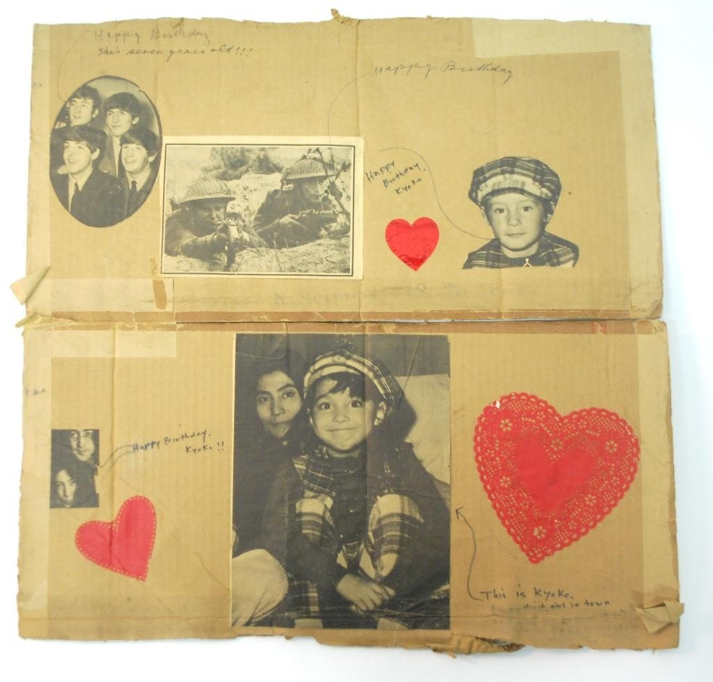 7: John Lennon Yoko Ono Homemade Kyoko Birthday Card