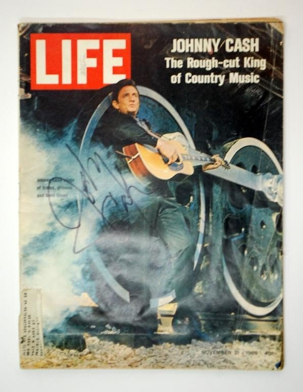 10: Johnny Cash Autographed Life Magazine