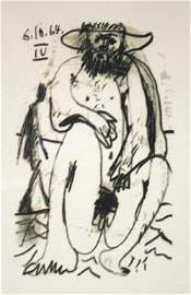"63: Picasso Signed Lithograph ""Nude Male"""