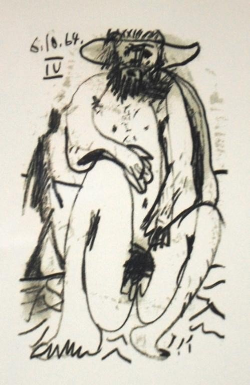 """63: Picasso Signed Lithograph """"Nude Male"""""""