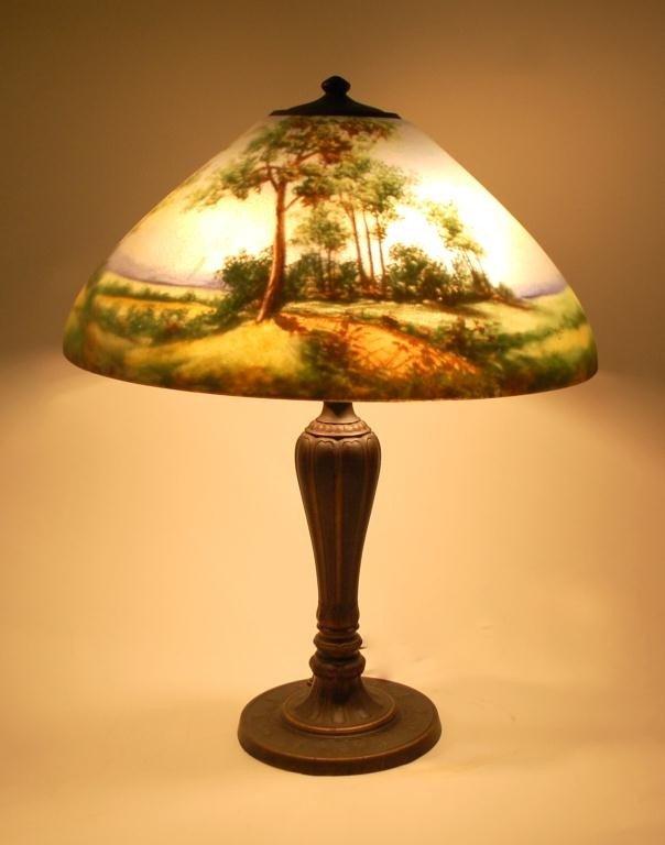 142: Signed Jefferson Handel Reverse Painted  Lamp