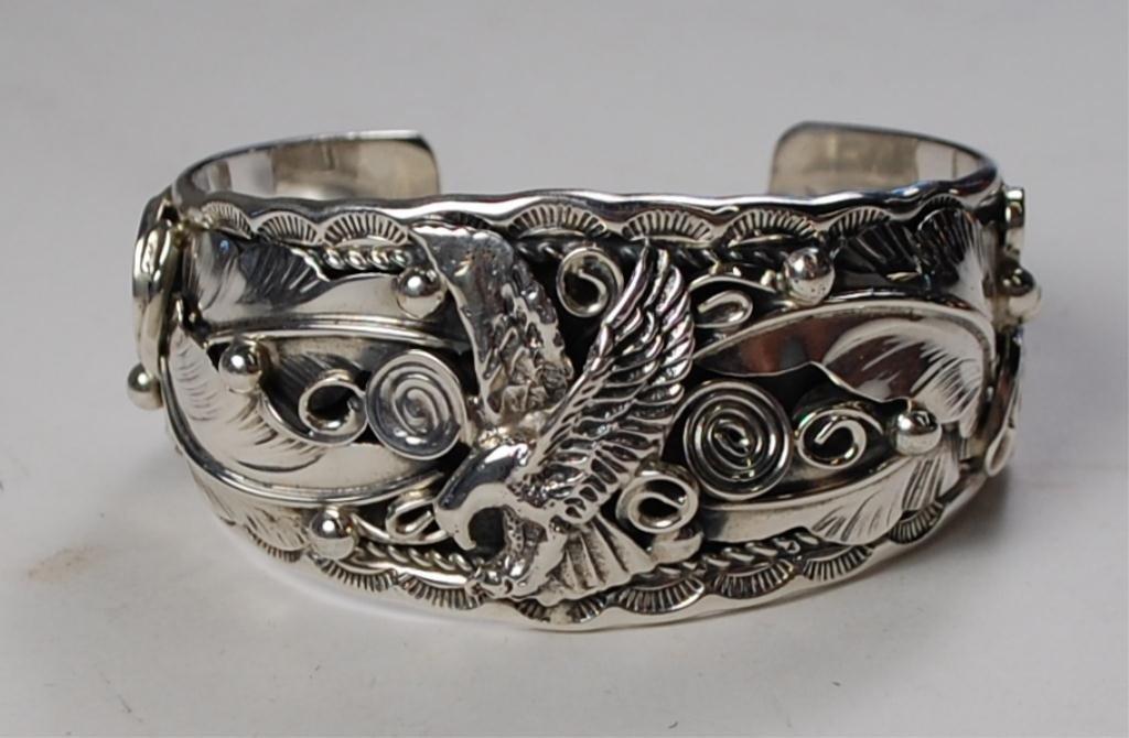 187: Allen Chee Navajo Sterling Silver Bracelet Cuff