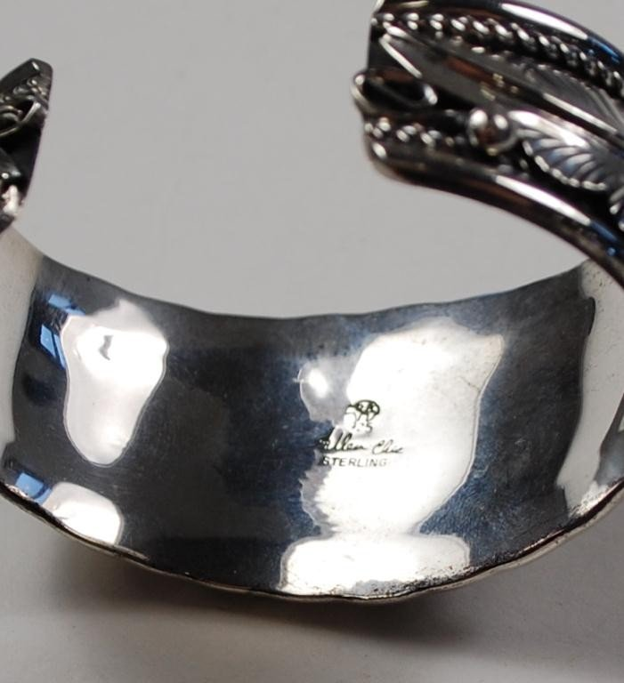 187: Allen Chee Navajo Sterling Silver Bracelet Cuff - 2