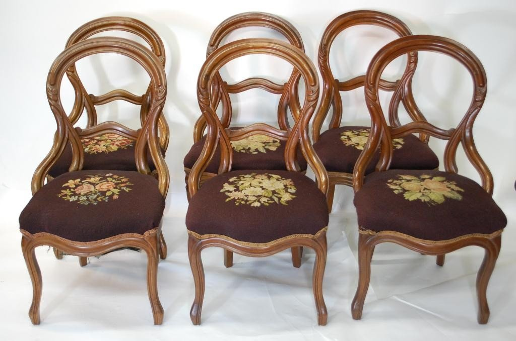 326: 6 Antique Embroidered Balloon Back Chairs