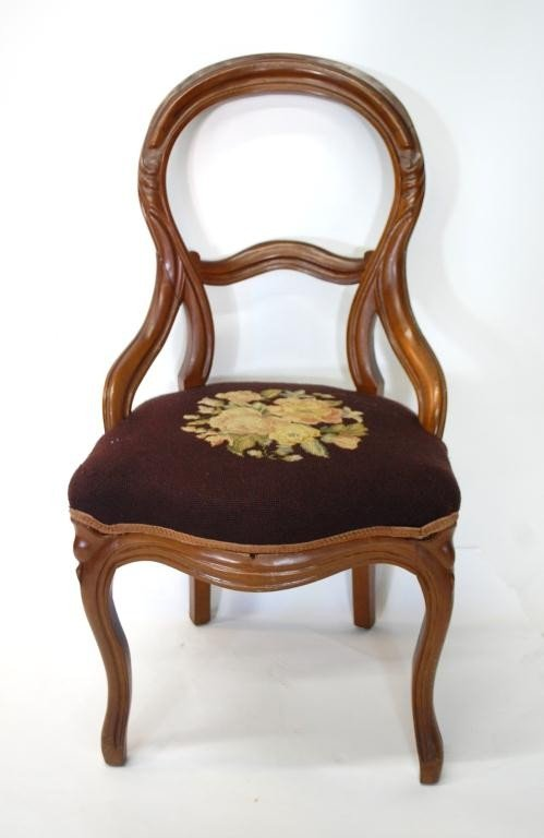 326: 6 Antique Embroidered Balloon Back Chairs - 2
