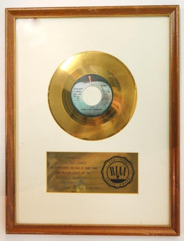 19: John Lennon Personal Instant Karma Gold Record