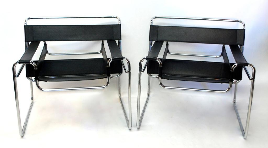 Pair Wassily Chrome and Leather Mid Century Chairs