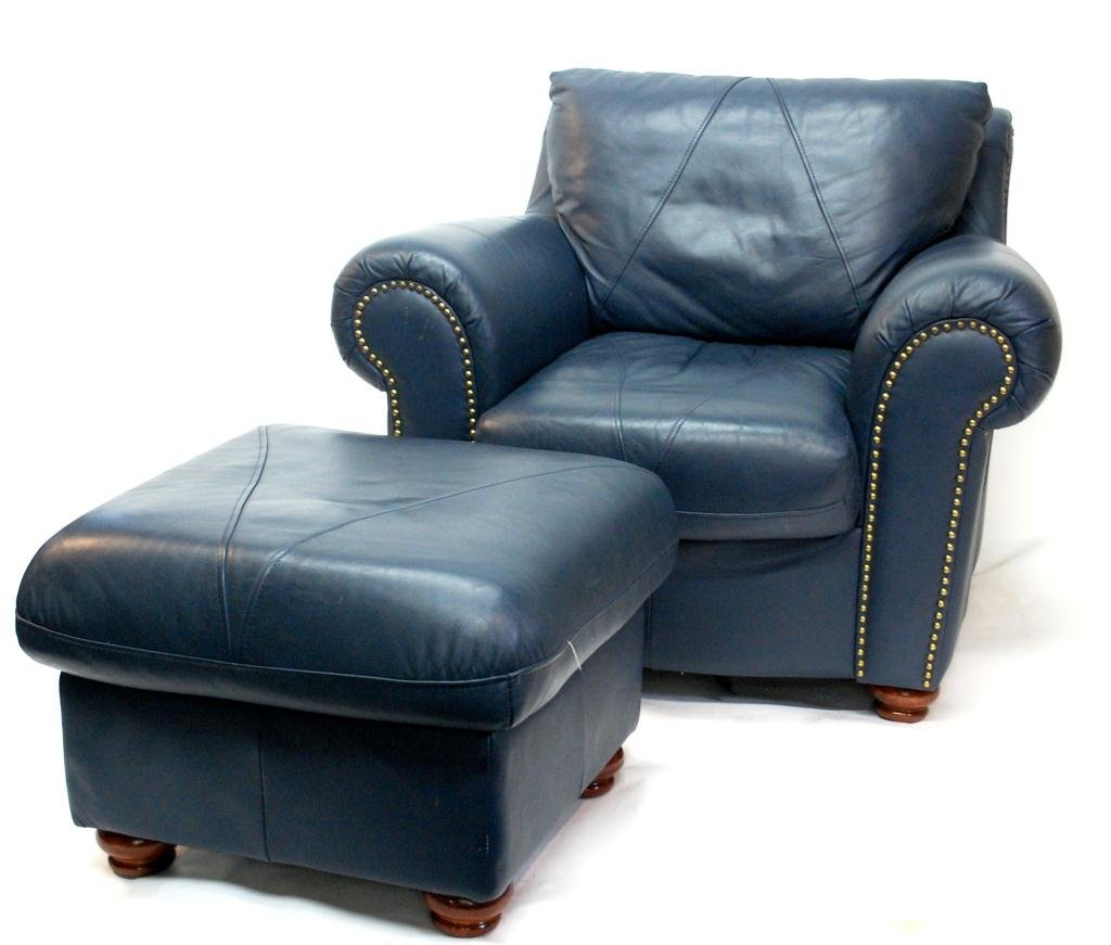 Custom Klaussner Blue Leather Chair & Ottoman