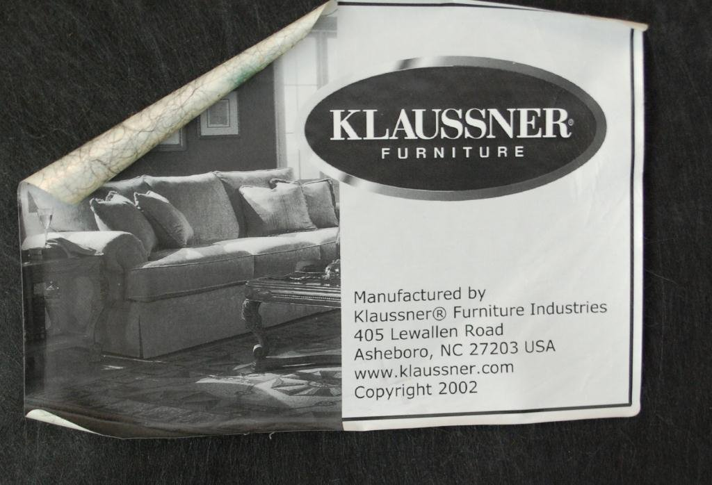 Custom Klaussner Blue Leather Chair & Ottoman - 4