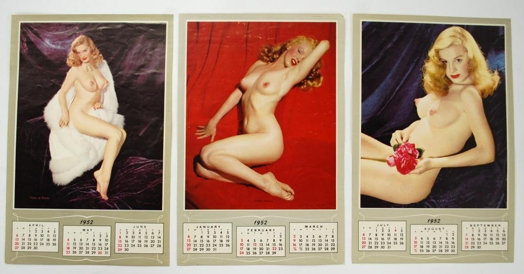 1952 Marilyn Monroe Calendar With 3 Sheets