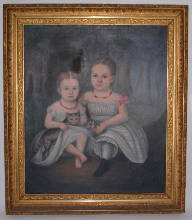 1860's N.C. Portrait Russell Girls w/ Cat--Roberts