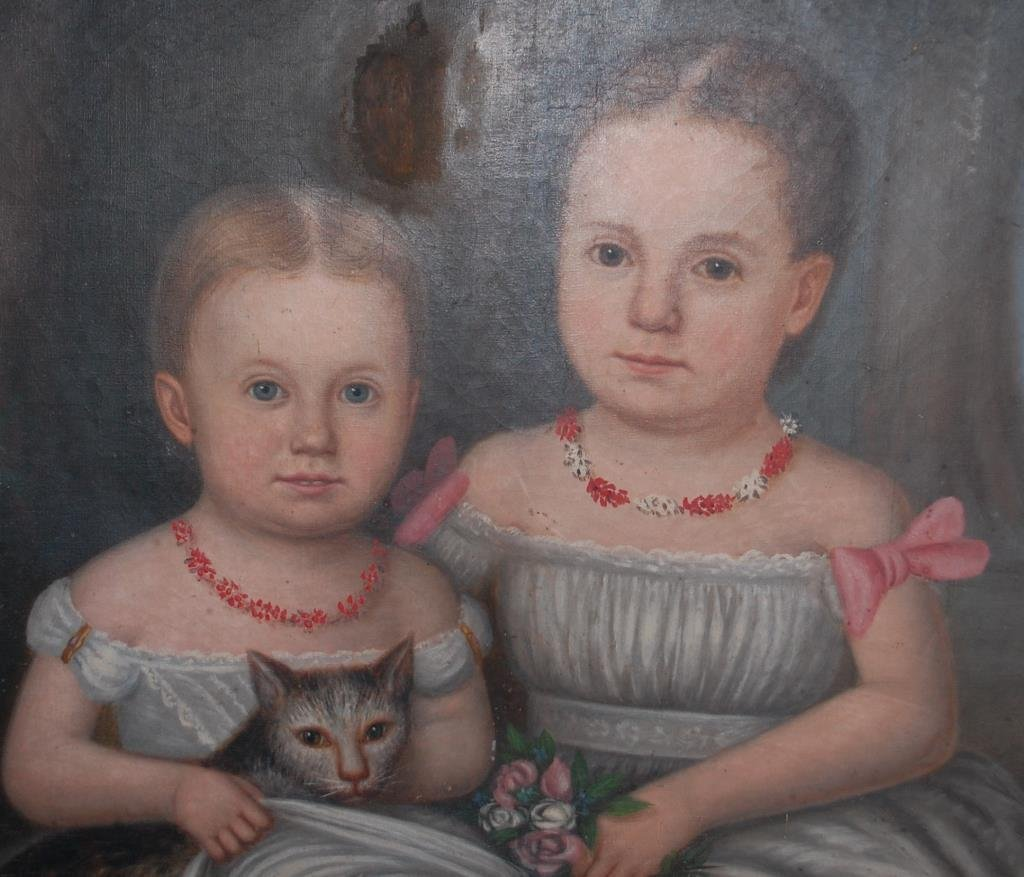 1860's N.C. Portrait Russell Girls w/ Cat--Roberts - 2