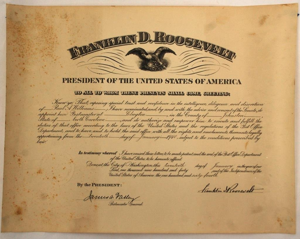 FDR Postmaster Certificate