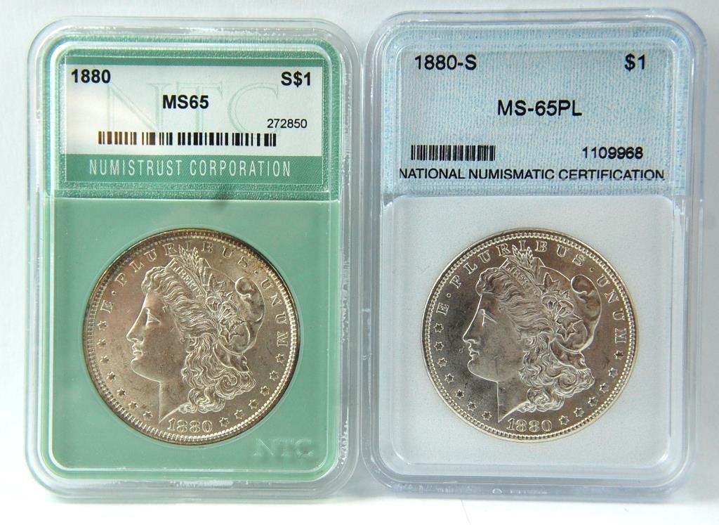 1880 & 1880-s Morgan Silver Dollars