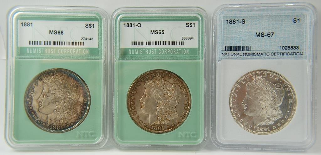 1881 ,  1881-o & 1881-s Morgan Silver Dollars