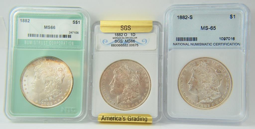 1882 , 1882-o & 1882-s Morgan Silver Dollars