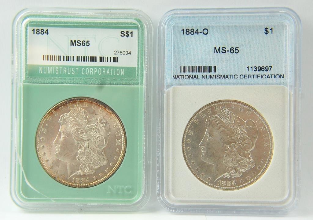 1884 & 1884-o Morgan Silver Dollars