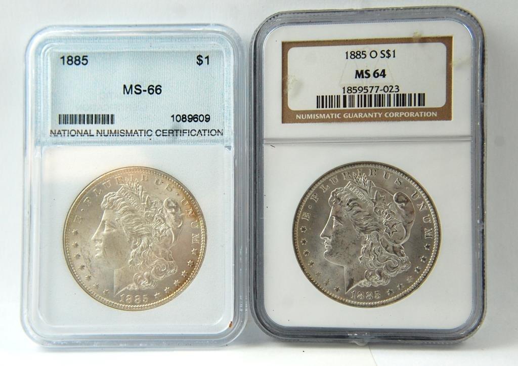 1885 &1885-o Morgan Silver Dollars