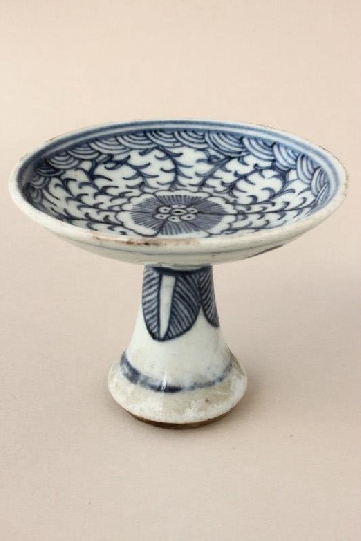 Chinese Qing Dynasty Blue and White Tazza,