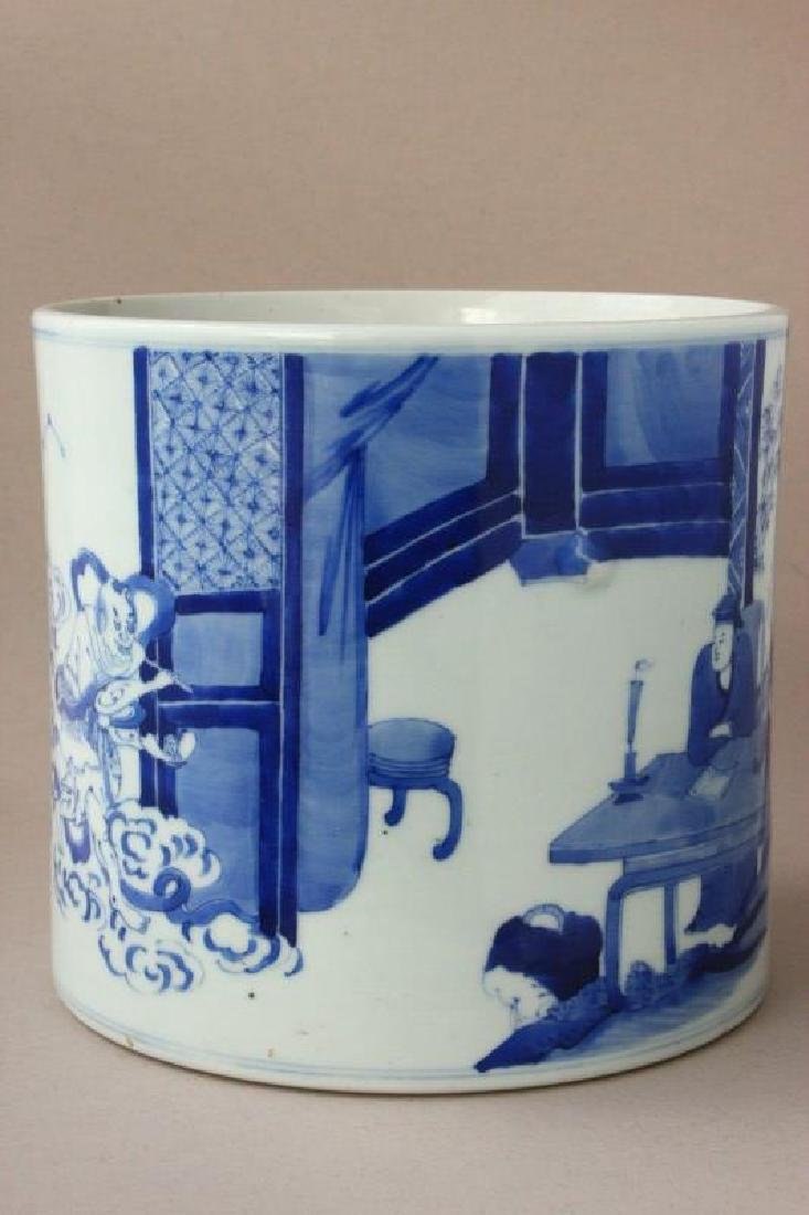 Chinese Qing Dynasty Blue and White Brush Pot,