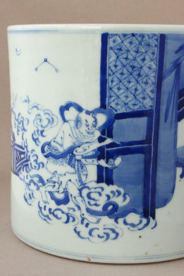 Chinese Qing Dynasty Blue and White Brush Pot, - 2