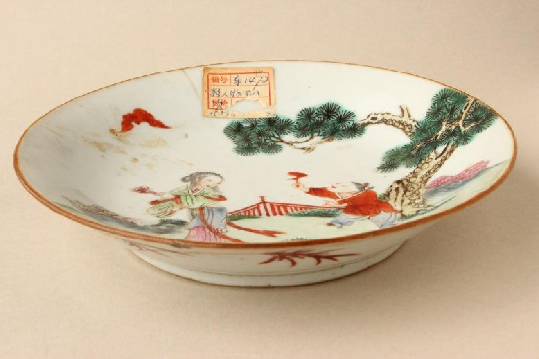 Chinese Qing Dynasty Famille Vert Porcelain Dish,