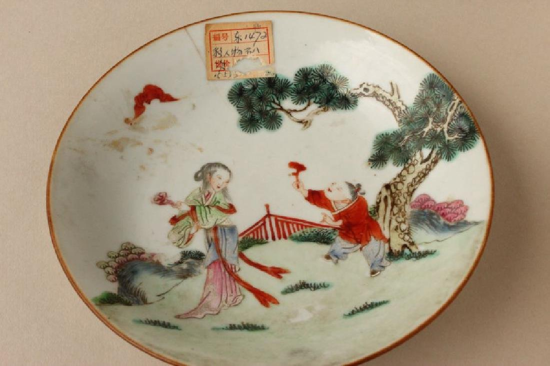 Chinese Qing Dynasty Famille Vert Porcelain Dish, - 3
