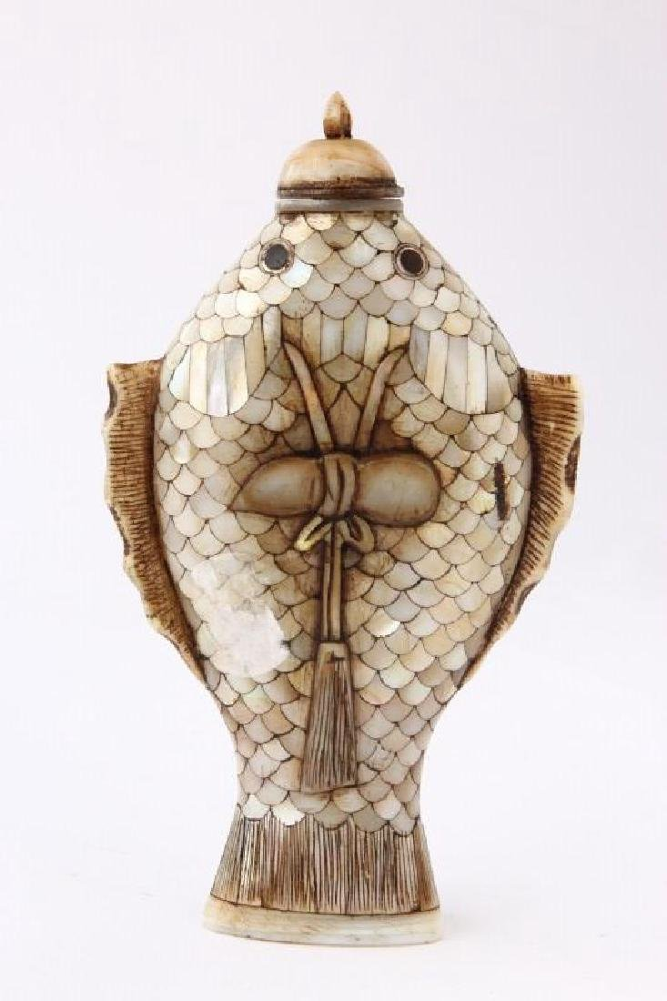 Chinese Mother of Pearl Snuff Bottle and Stopper, - 2