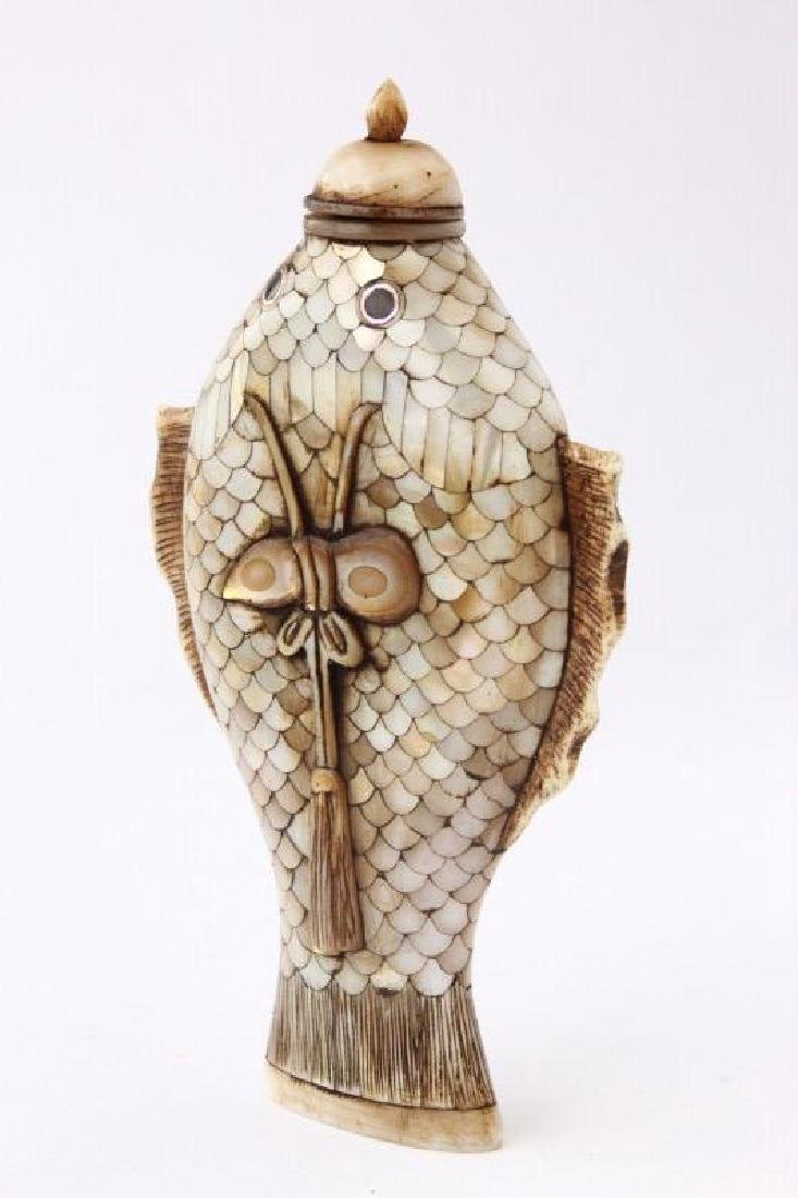 Chinese Mother of Pearl Snuff Bottle and Stopper, - 3