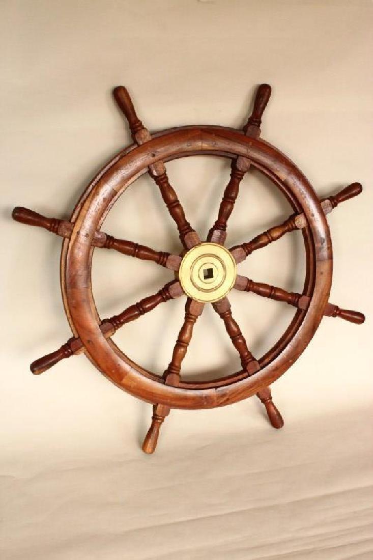 Large Wooden Ships Wheel,