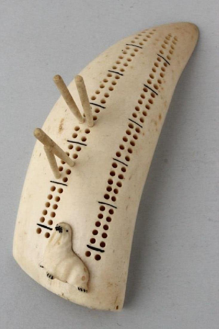 Late 19th Century Whale Tooth Cribbage Marker,