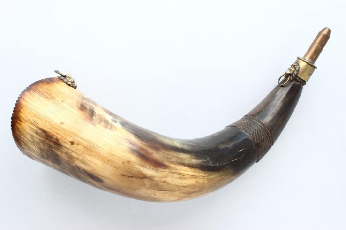 Rare Australian Colonial Scrimshaw Powder Horn,