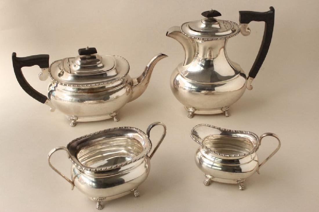 English Sterling Silver Four Piece Tea Service,