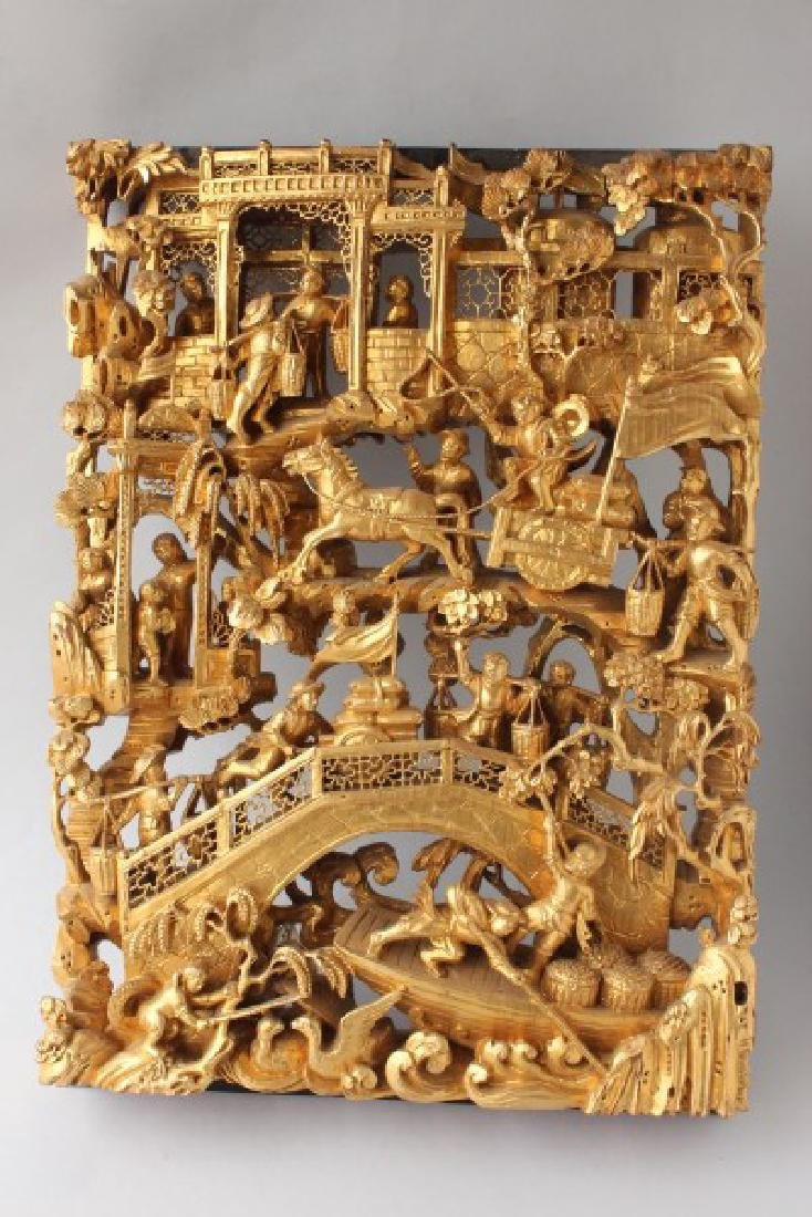 Chinese Craved Gilt Wood Panel,