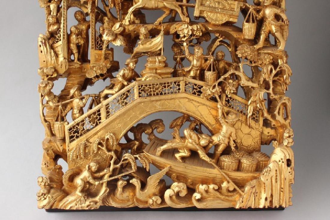 Chinese Craved Gilt Wood Panel, - 3