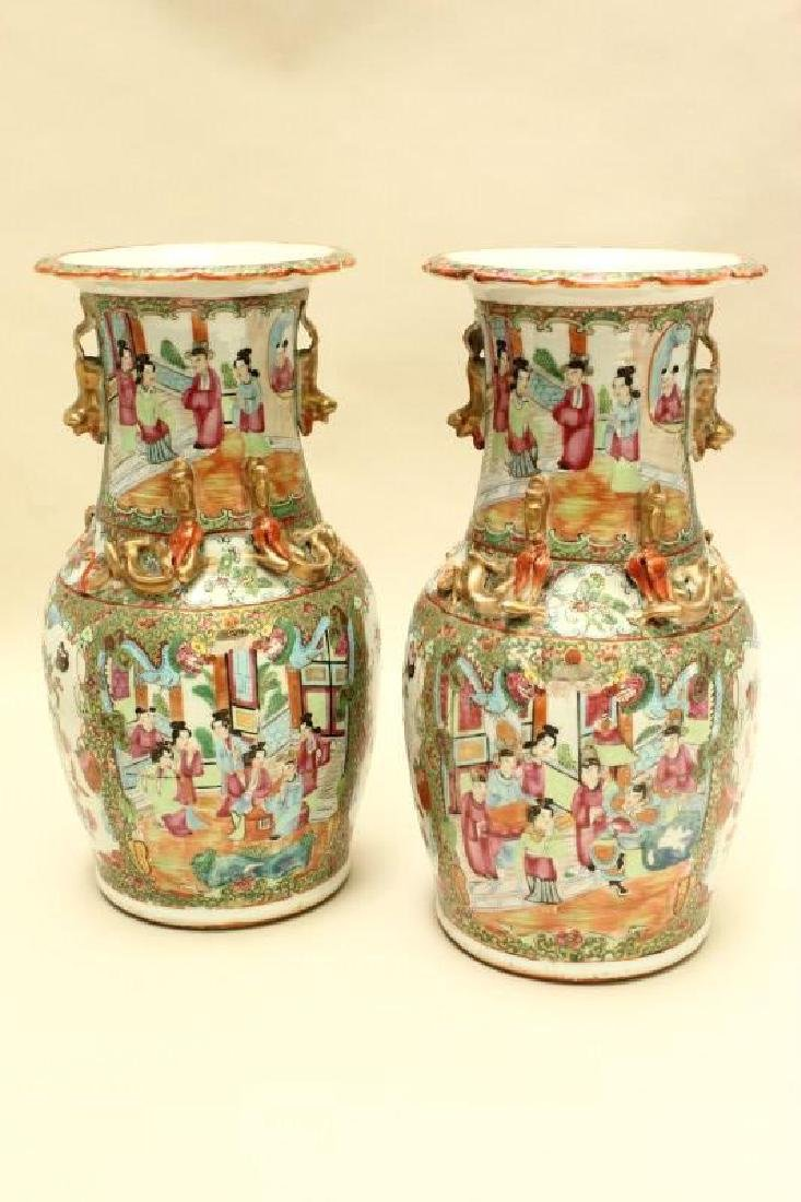 Pair of 19th Century Cantonese Porcelain Vases,