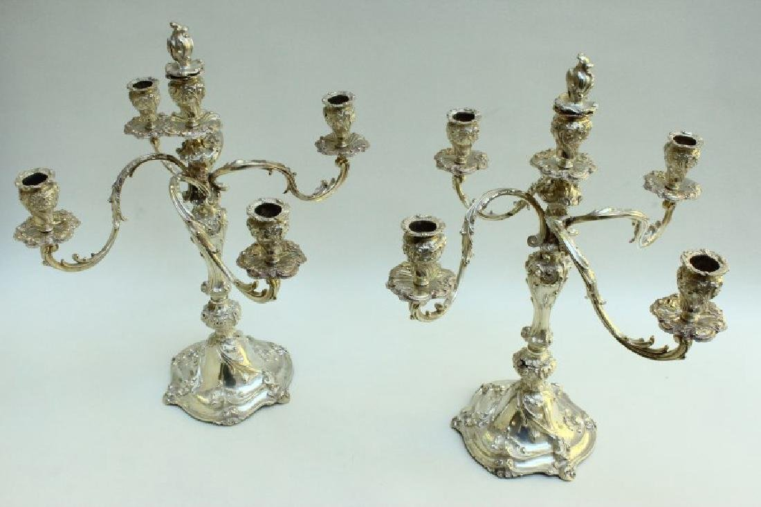 Large Pair of Italian Sterling Silver Candelabra,