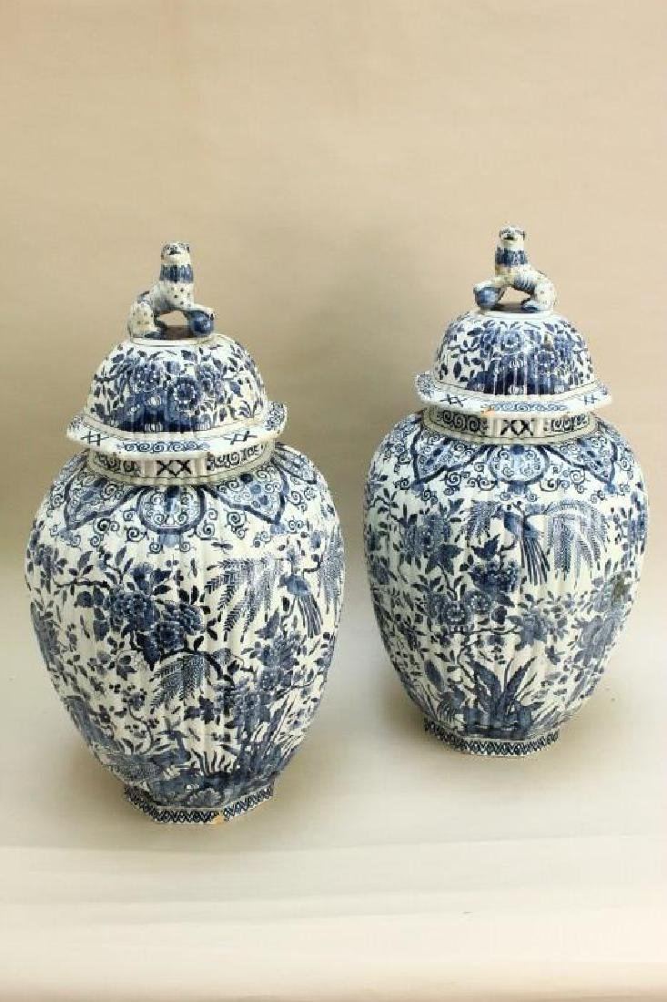 Pair of 18th Century Dutch Delft Jars and Covers,